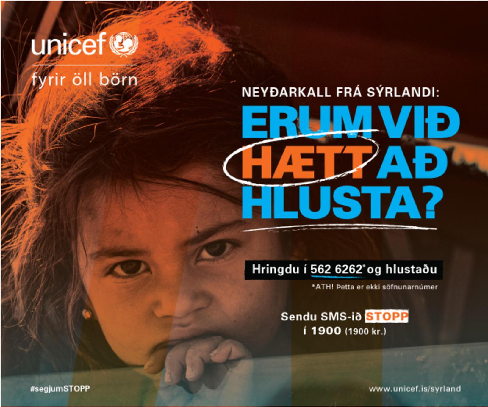 UNICEF á Íslandi sendir Íslendingum áskorun um að hlusta á ...