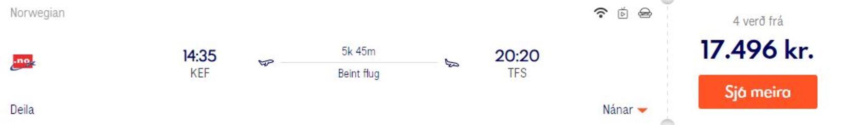 Flug á innan við 20 þúsund til Tenerife. Þetta flug ...