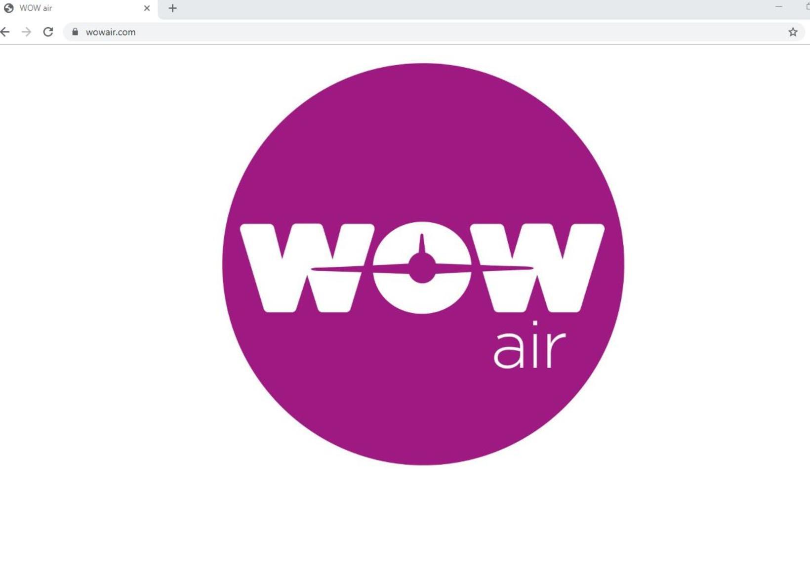 Vefsíða WOW air eins og hún er þessa stundina.