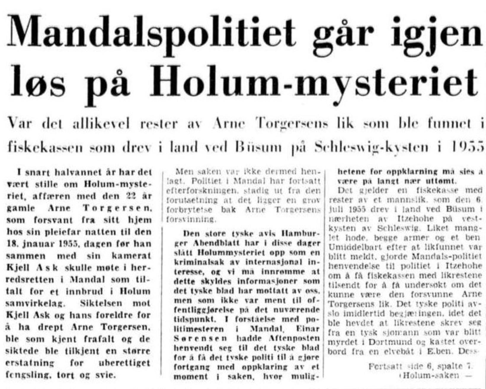 Aftenposten skrifar um málið einu og hálfu ári eftir hvarfið ...