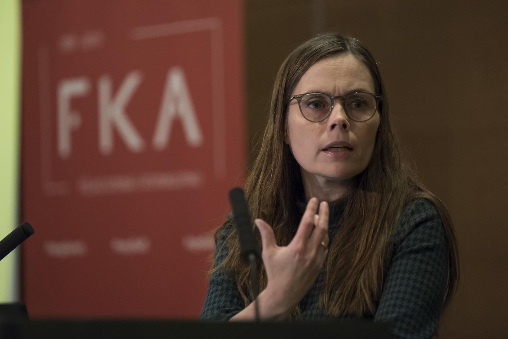 Katrín Jakobsdóttir, forsætisráðherra, flutti erindi á ráðstefnunni.