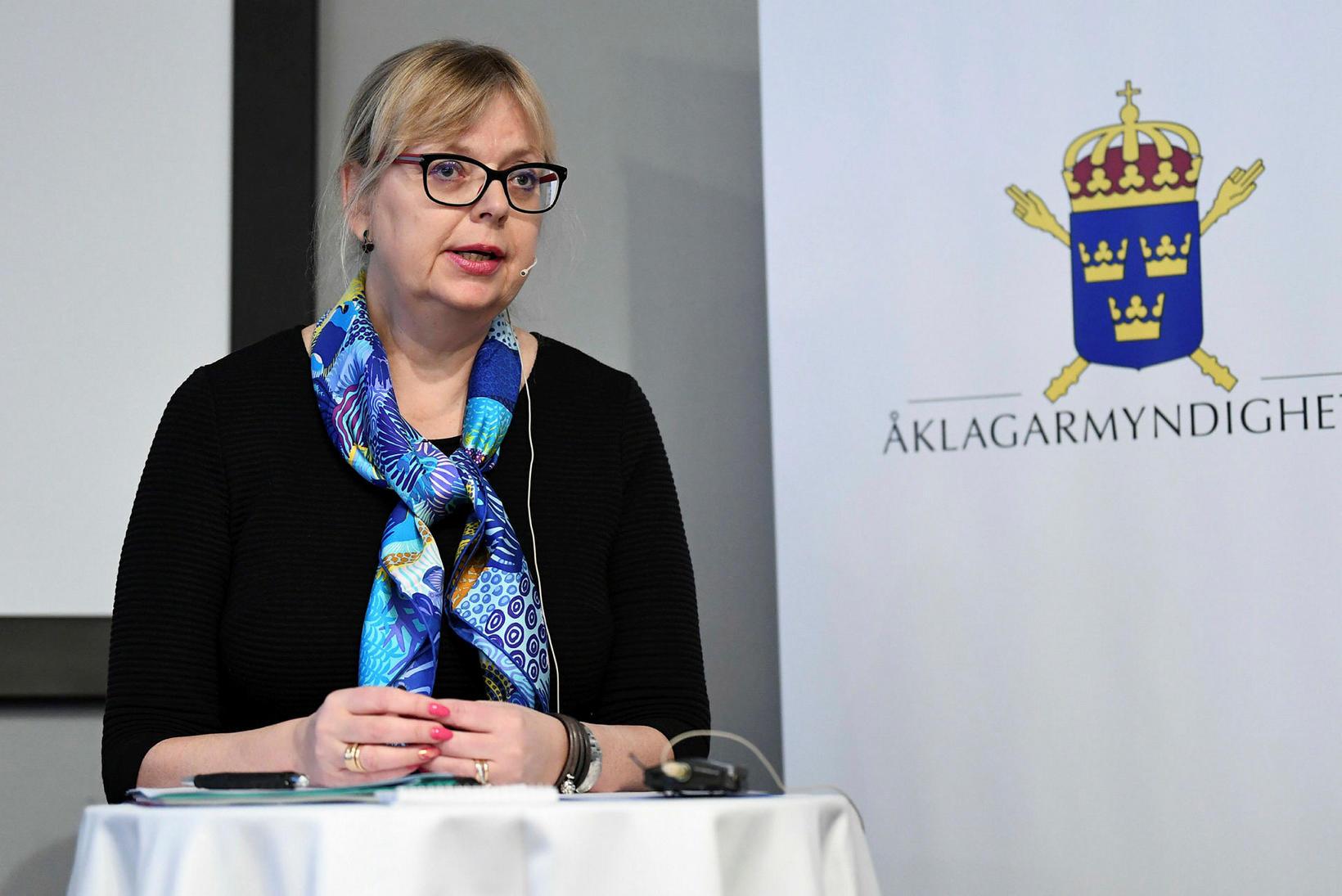 Eva-Marie Persson greindi frá ákvörðuninni á blaðamannafundi í dag.