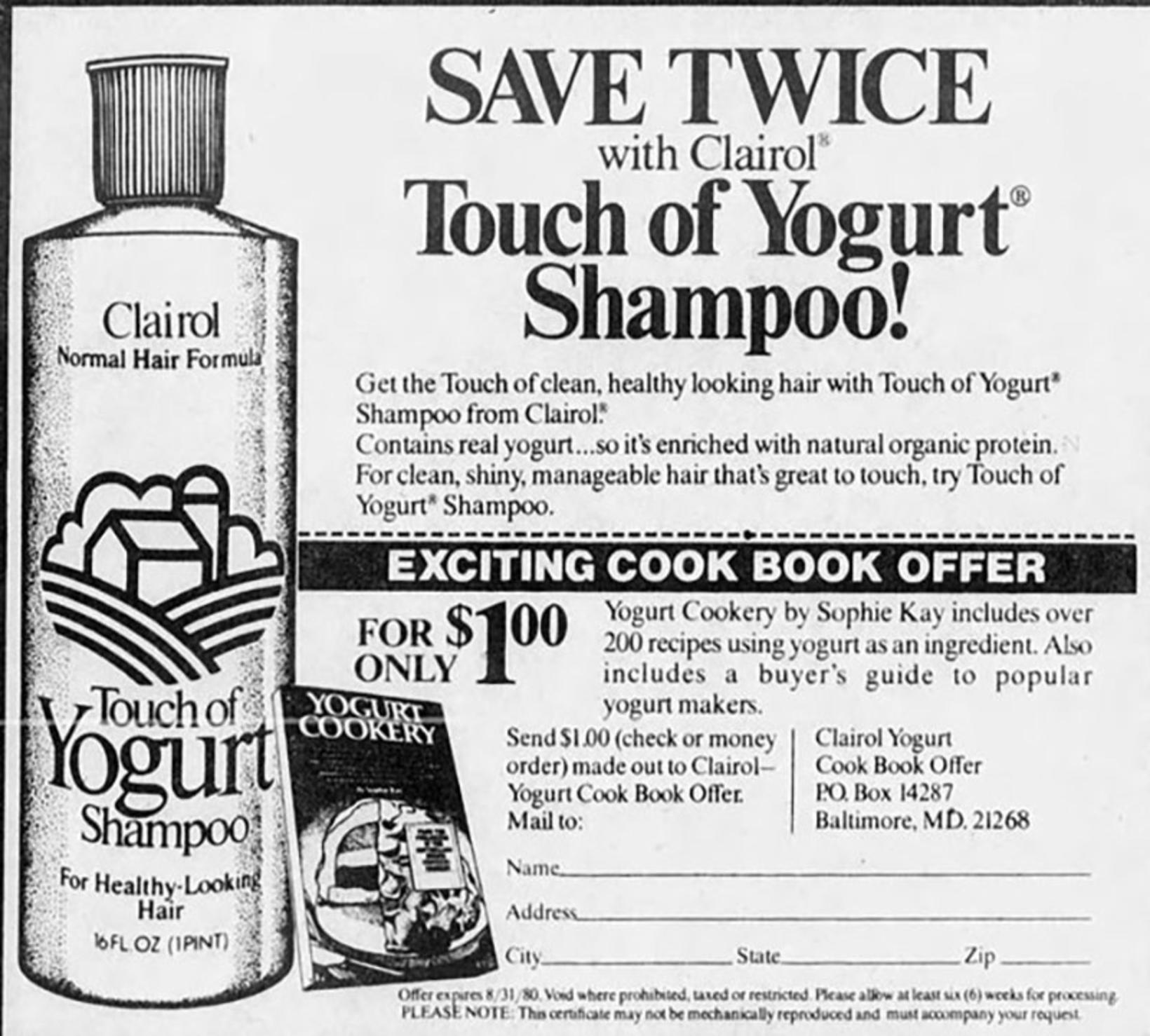 Árið 1979 setti Clairol á markað sjampó sem innihélt alvöru ...