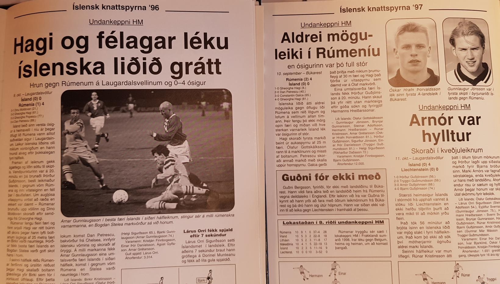 Frásagnir af leikjunum tveimur gegn Rúmenum árin 1996 og 1997.