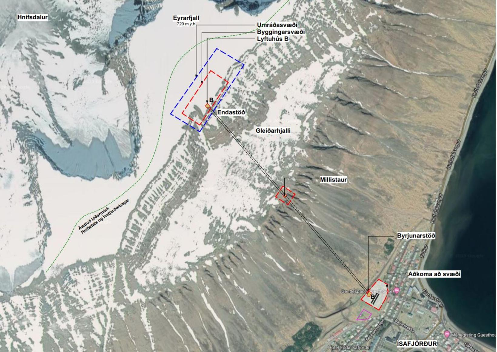 This shows the suggested location of the gondola lift.