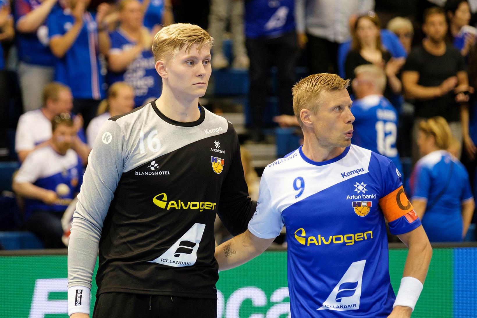 Viktor Gísli Hallgrímsson og Guðjón Valur Sigurðsson spiluðu báðir vel …