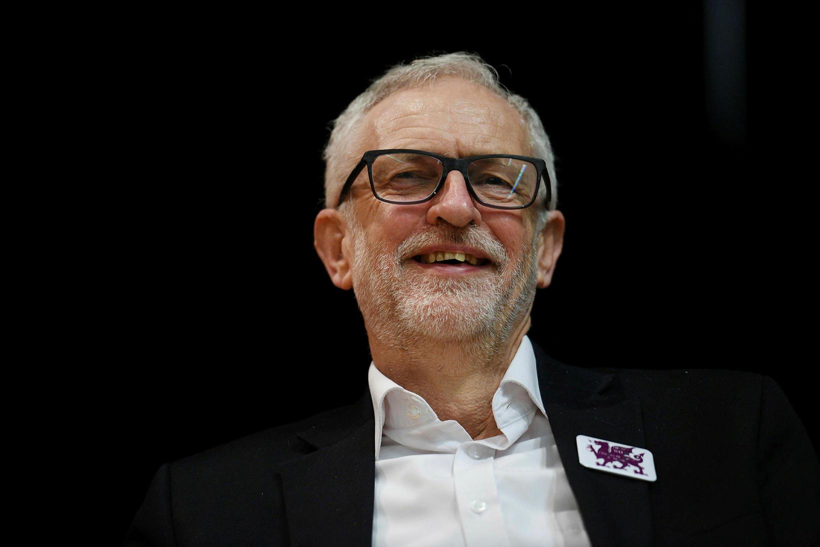 Jeremy Corbyn, leiðtogi Verkamannaflokksins, á kosningafundi í Llanfairfechan í norðvesturhluta …