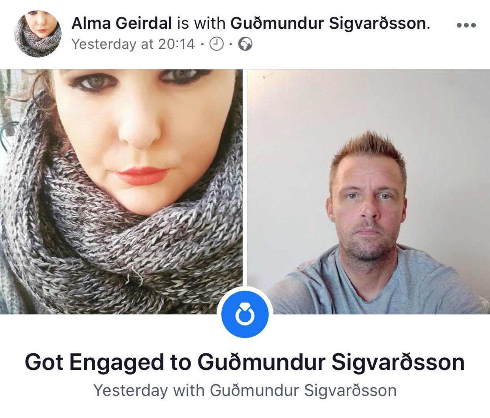 Alma Geirdal og Guðmundur Sigvarðsson trúlofuðu sig í desember.