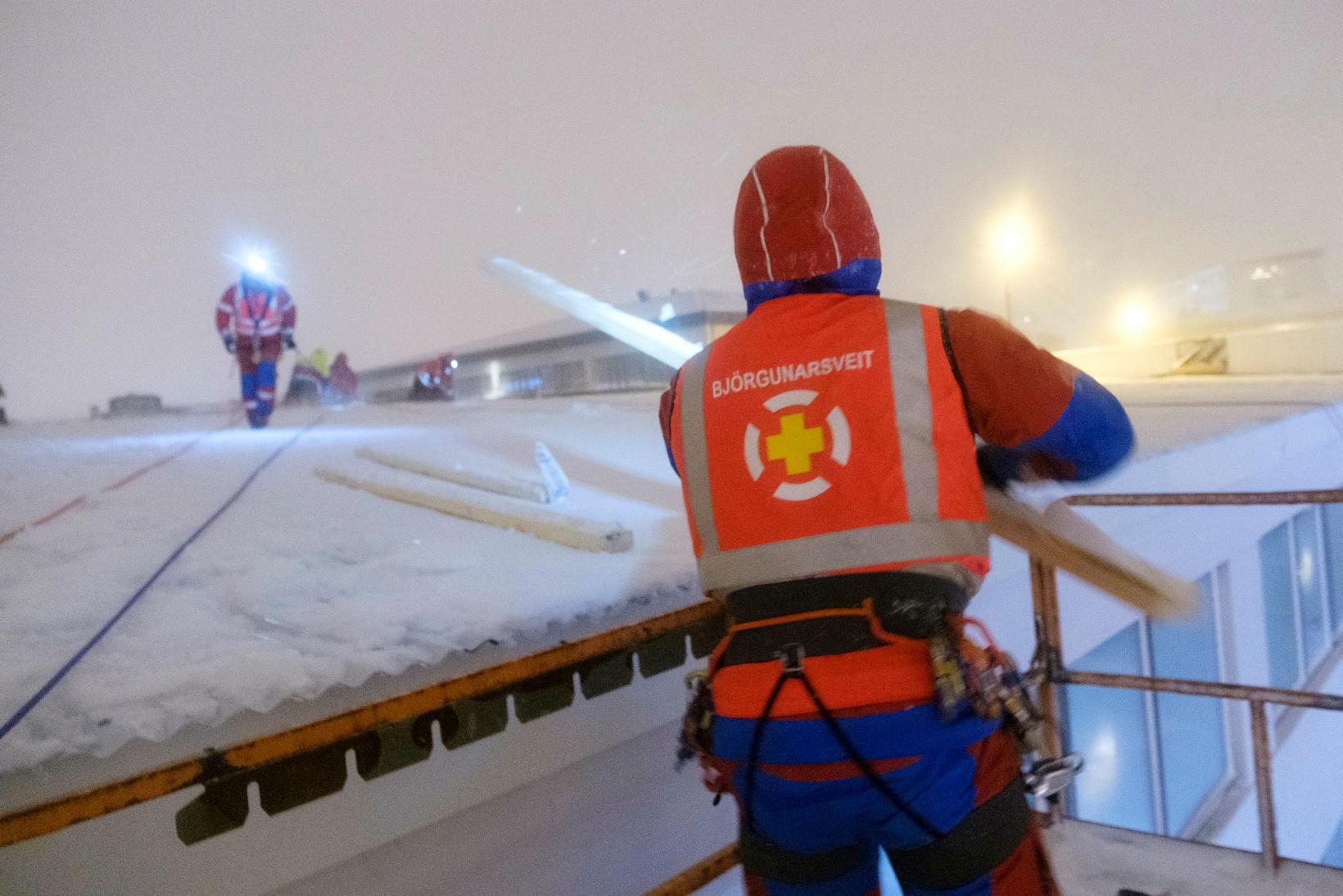 Rescue workers in Reykjavík.