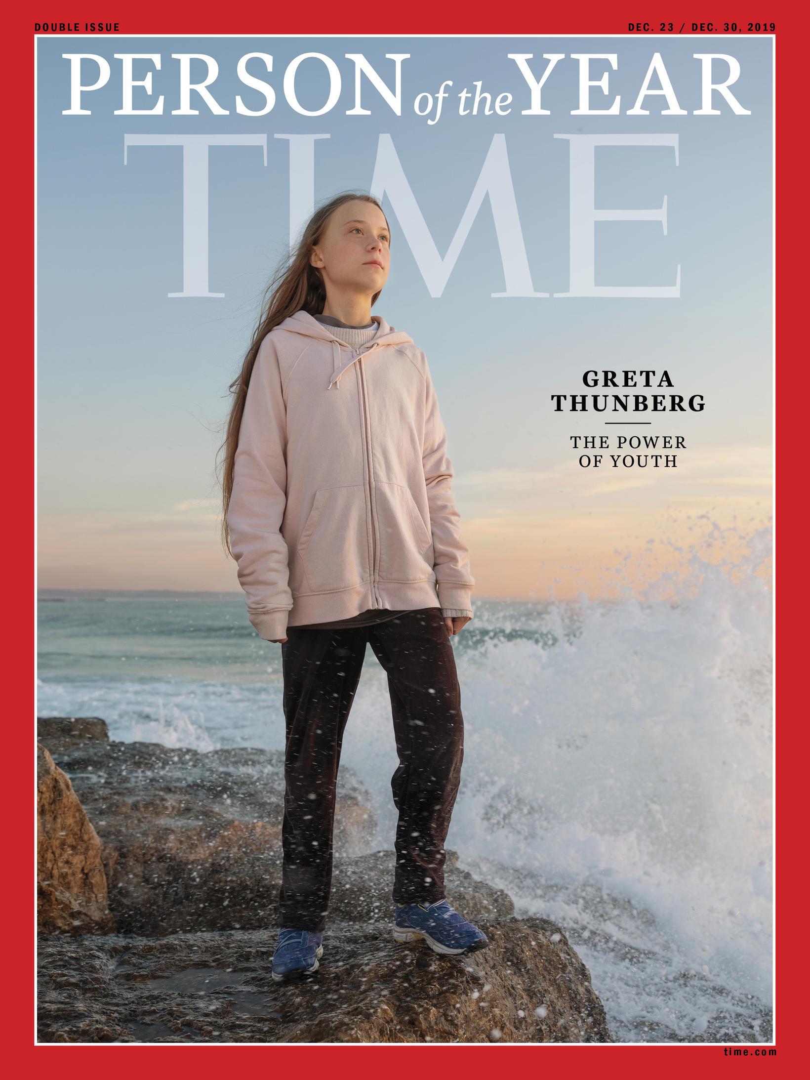 Greta Thunberg er manneskja ársins hjá Time, sú yngsta sem …