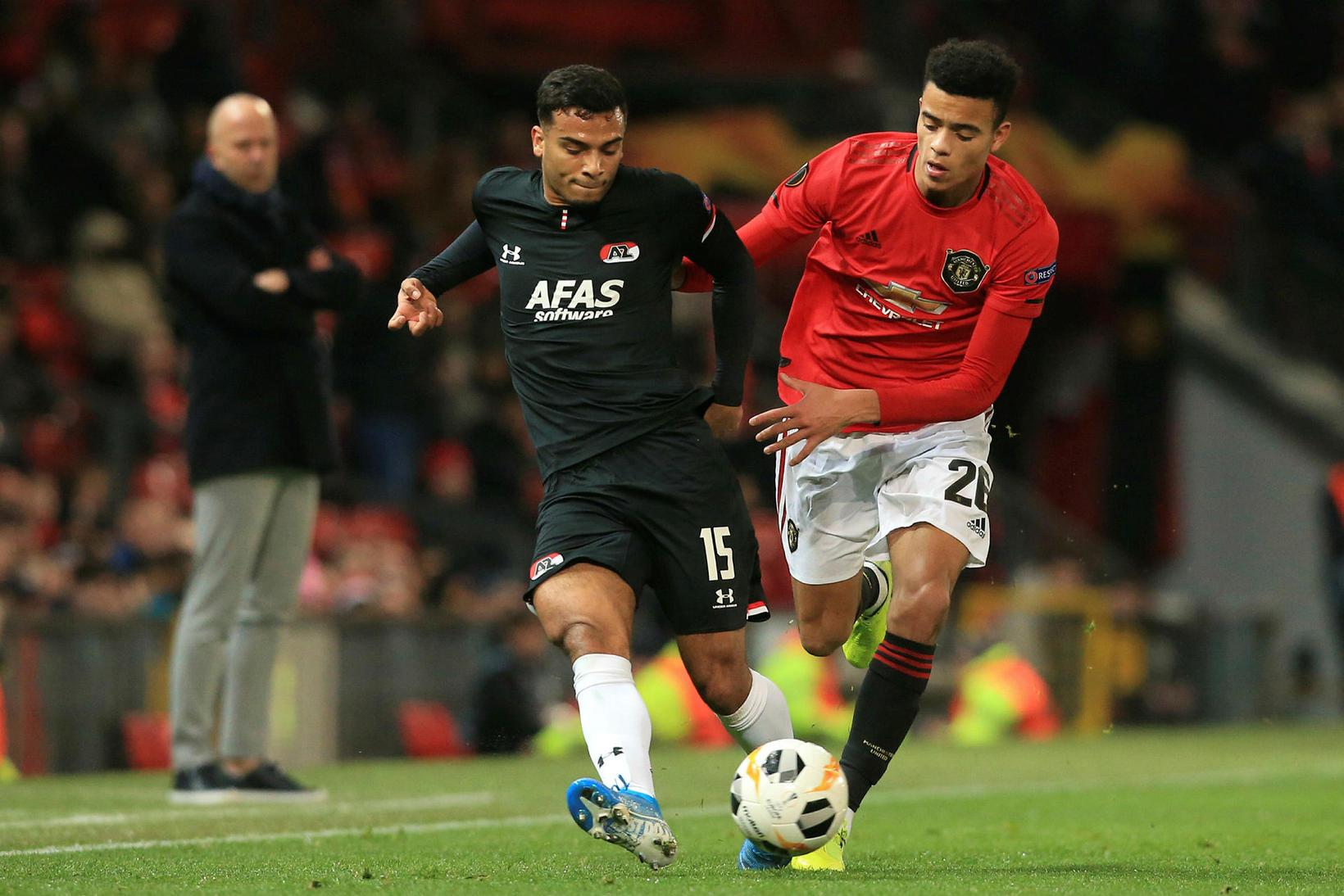 Táningurinn Mason Greenwood skoraði tvö mörk fyrir Manchester United gegn …
