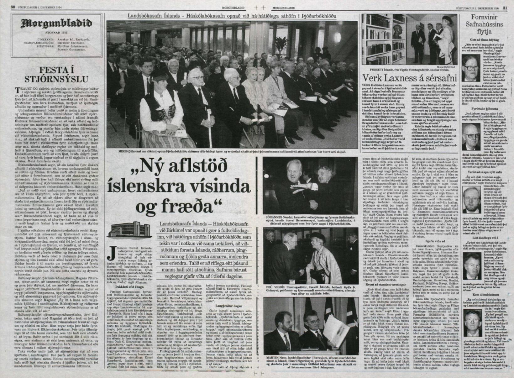 Miðopna Morgunblaðsins annan desember 1994 var lögð undir opnun Þjóðarbókhlöðunnar. …