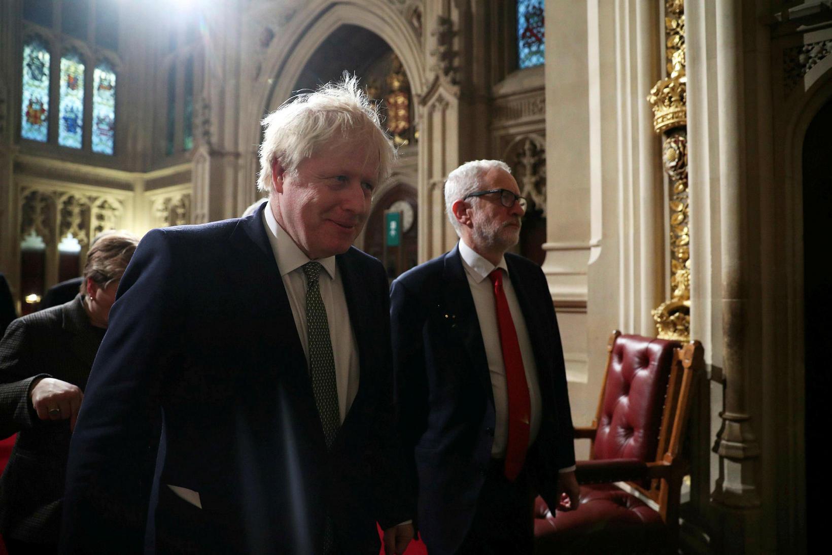 Boris Johnson, forsætisráðherra Bretlands og formaður Íhaldsflokksins, og Jeremy Corbyn, …