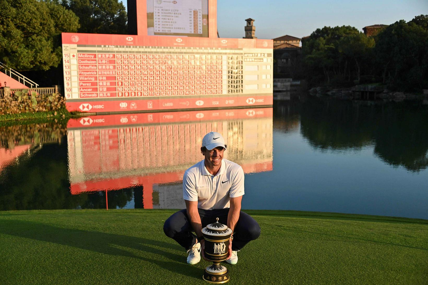 Rory McIlroy fagnar sigri á WGC-HSBC Champions mótinu í Shanghai …