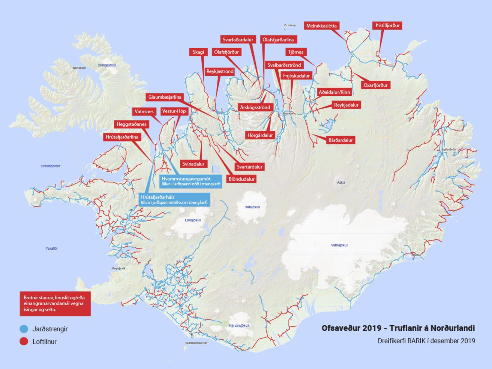Myndin sýnir bilanir í dreifikerfi Rarik á Norðurlandi vegna óveðursins …