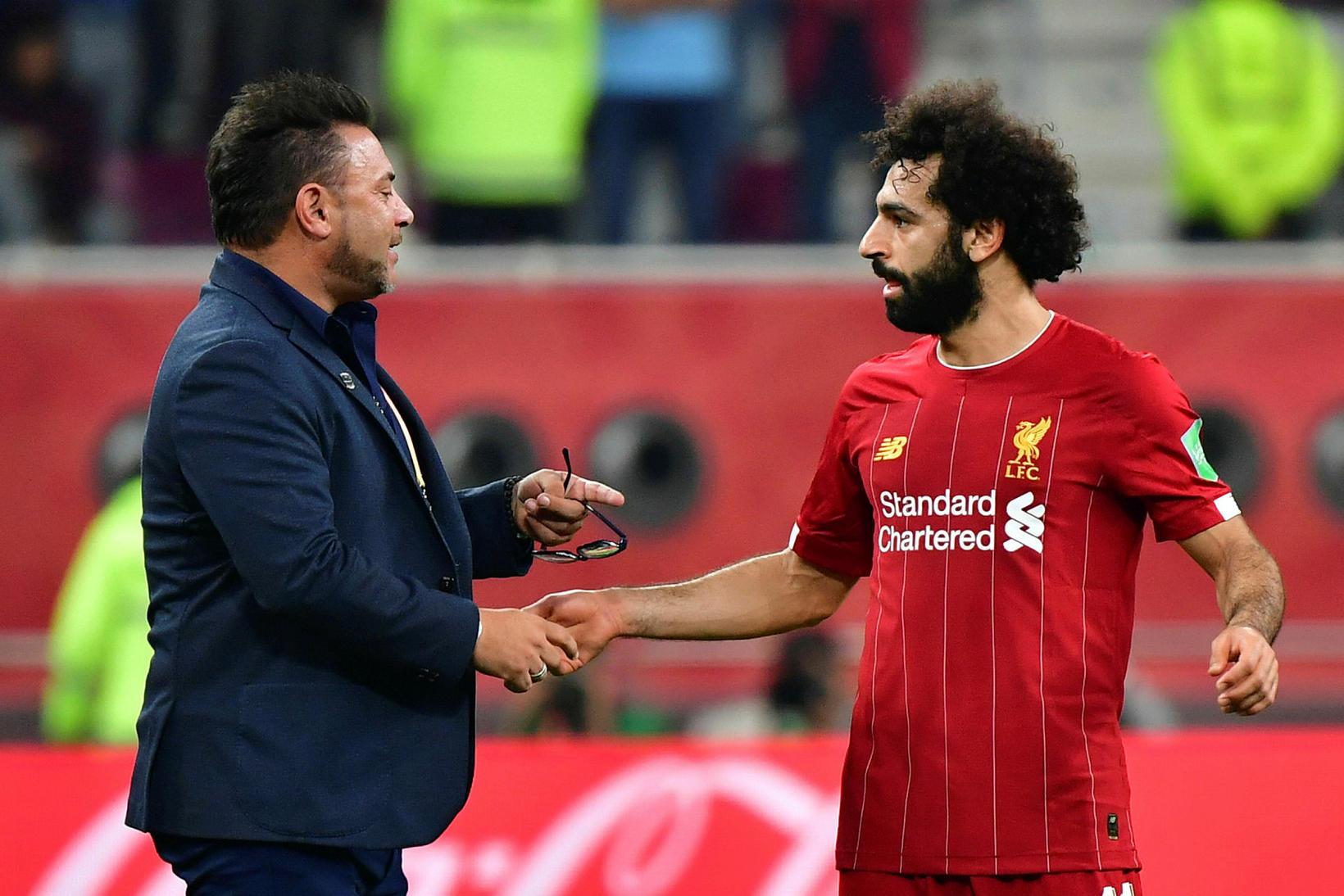 Antonio Mohamed og Mohamed Salah ræddu málin eftir leikinn.
