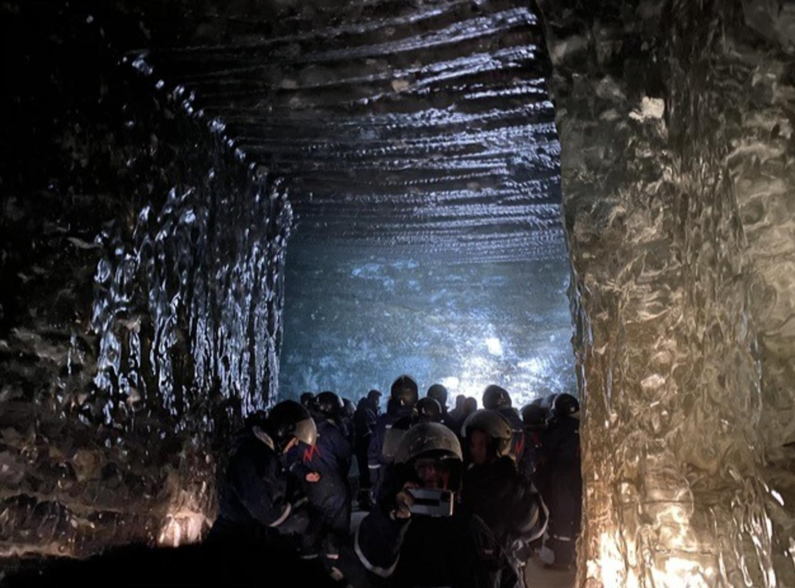 The tourists were taken to an ice cave before going …