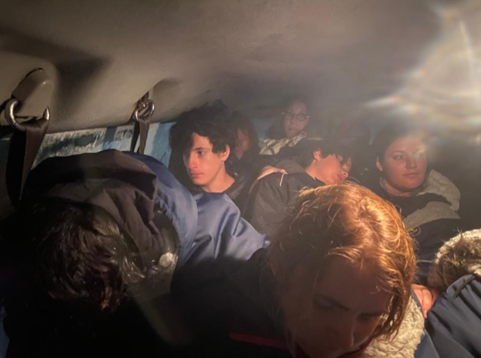 Waiting for help inside the crammed vehicle.
