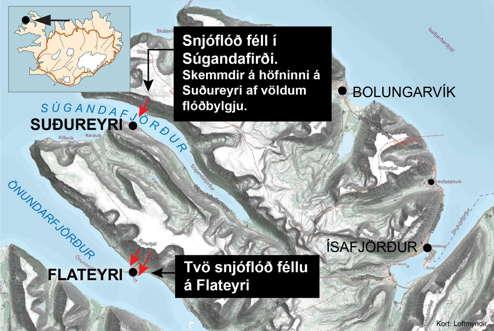 Tvö flóð féllu á Flateyri og eitt á Súgandafirði seint …