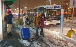 Inclement weather affects international as well as domestic flight today, in addition to bus service.