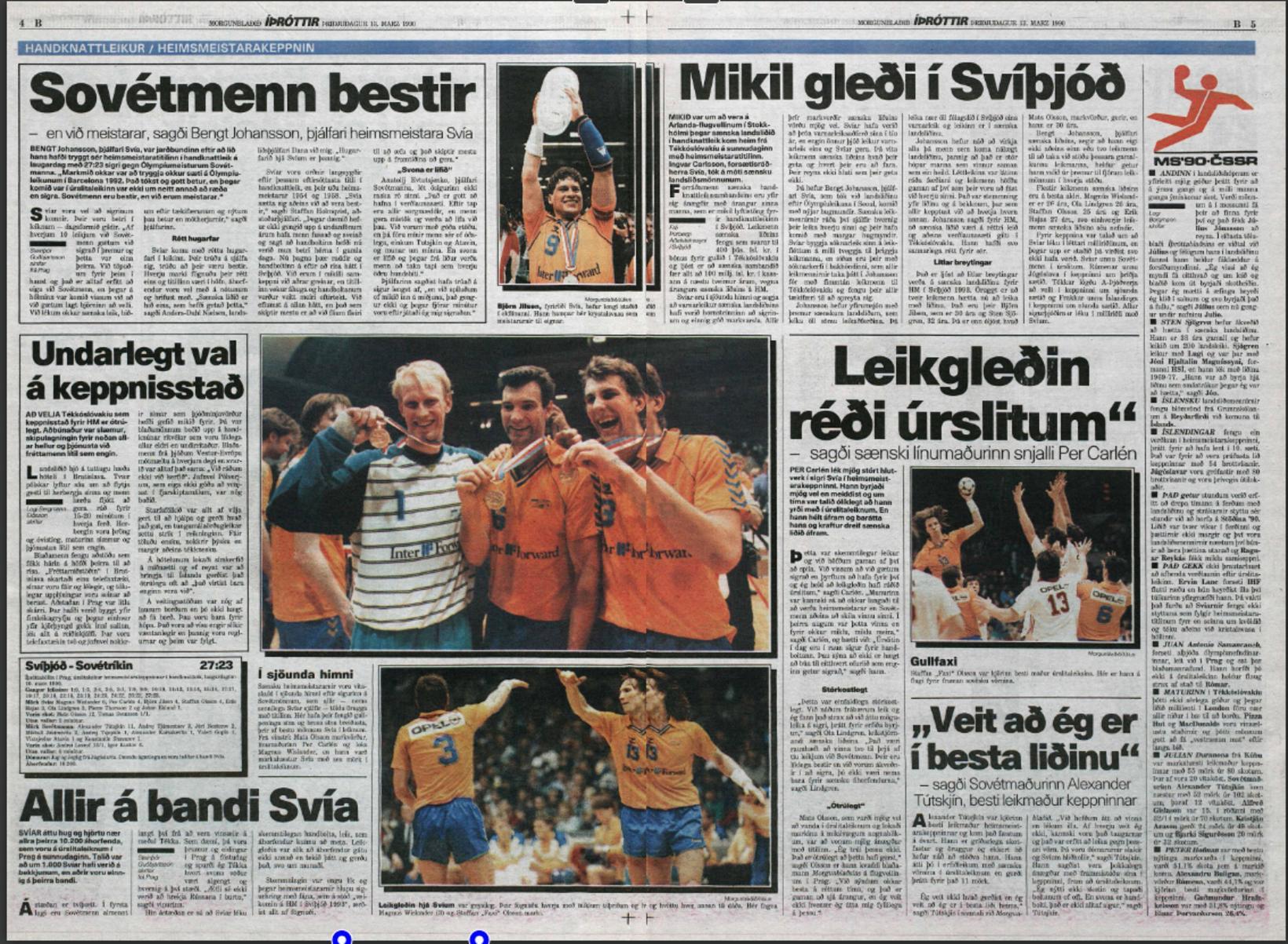 Umfjöllun Morgunblaðsins um úrslitaleikinn 13. mars 1990.