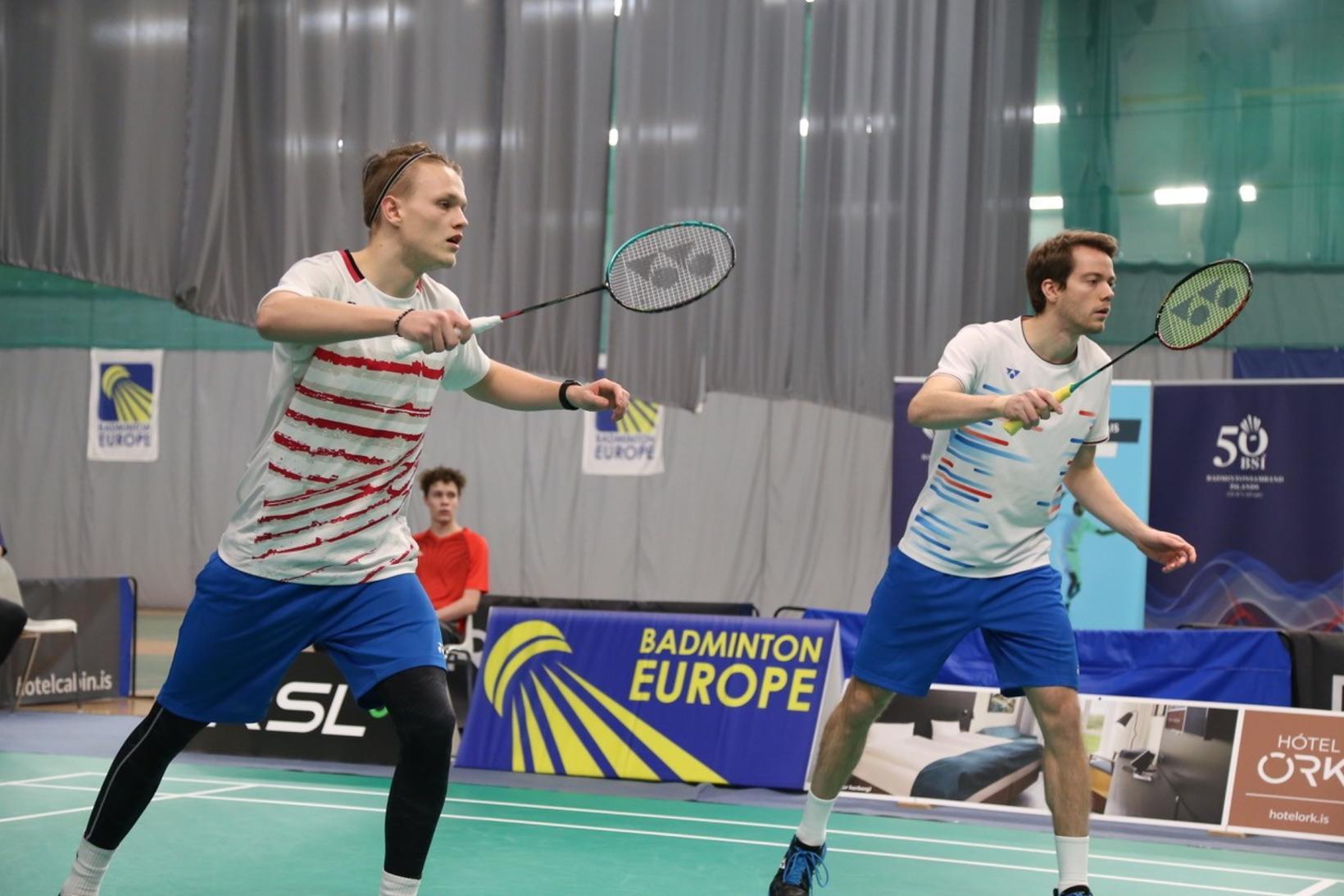 Davíð Bjarni Björnsson og Kári Gunnarsson í TBR-húsinu í dag.
