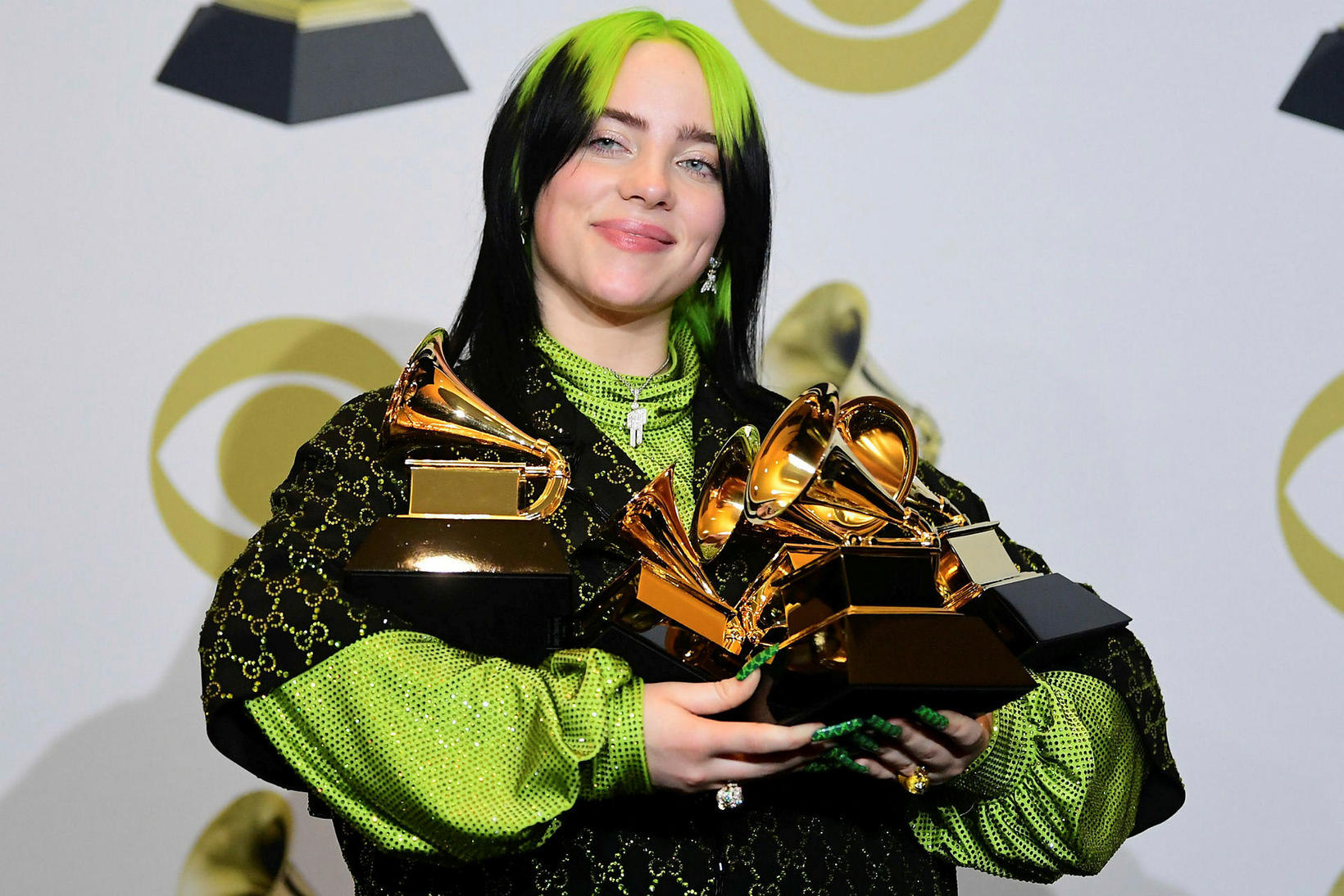 Billie Eilish á Grammy-hátíðinni í gærkvöldi.