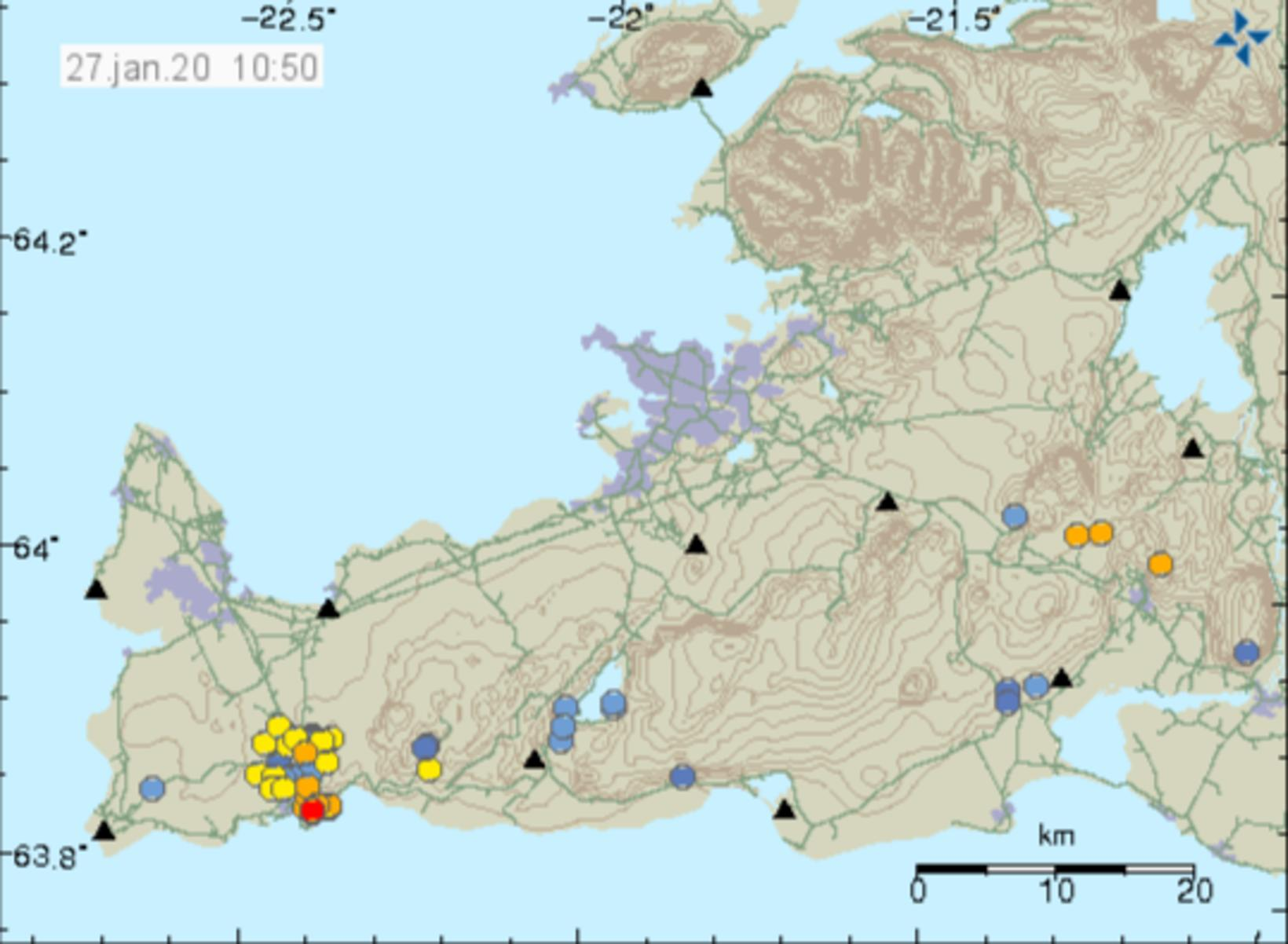 Seismic activity on Reykjanes. The dots show the location of …
