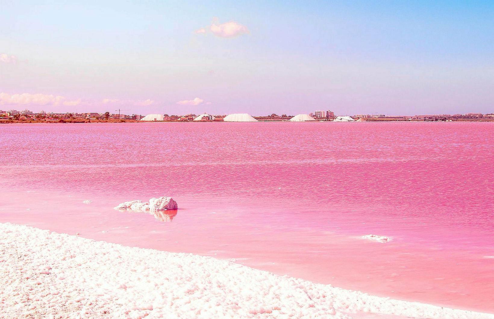 La Laguna Rosa er saltvatn inni í landi og talið …