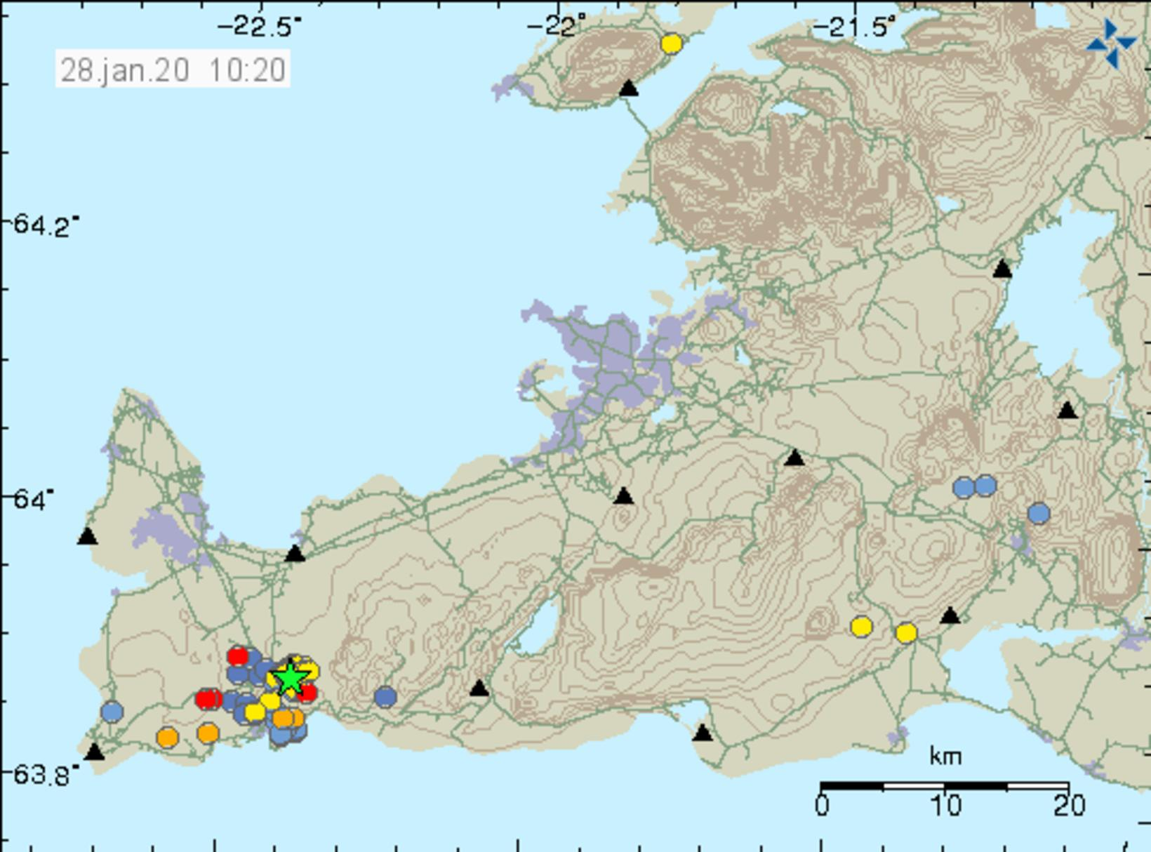 The latest seismic activity in Reykjanes.