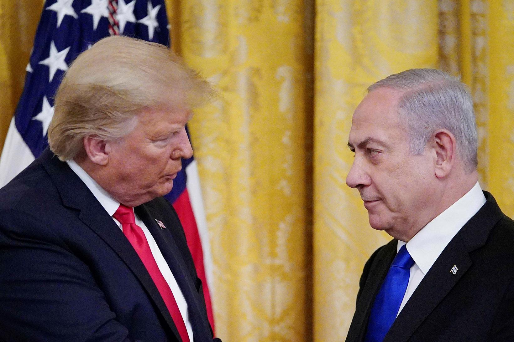 Donald Trump, forseti Bandaríkjanna, og Benjamin Netanyahu, forsætisráðherra Ísraels, í …