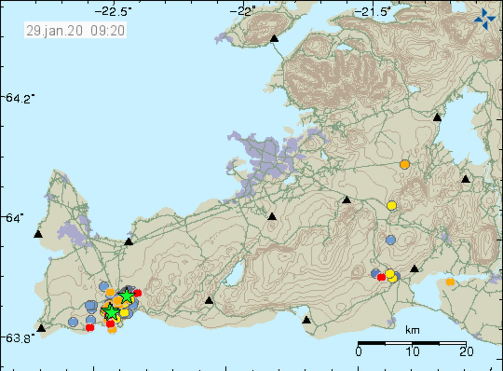 Seismic activity in Reykjanes. Green stars represent quakes in excess …