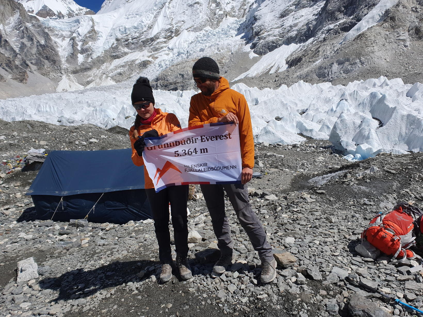 Helga María á Base Camp á Everest fjalli.