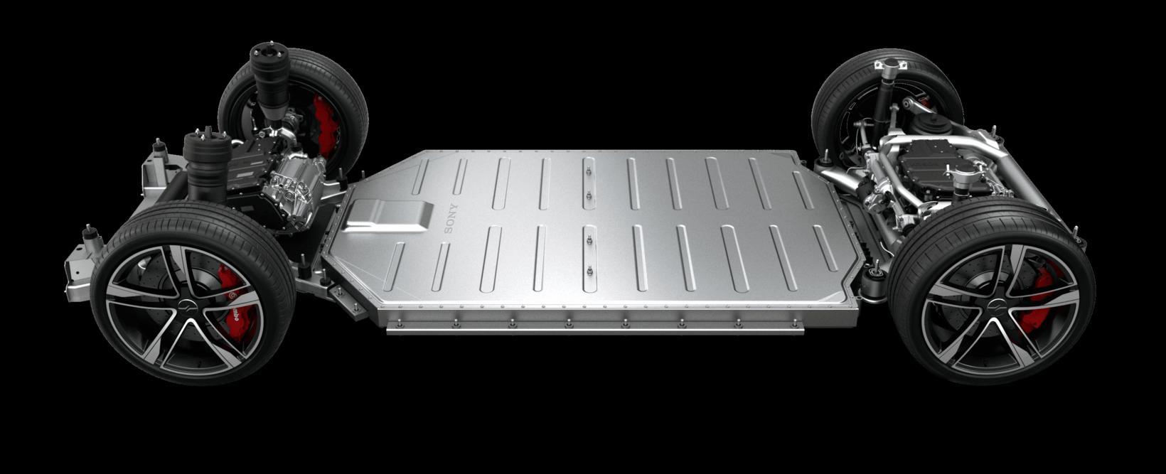 Undirvagn Sony Vision-S er undirlagður rafhlöðu bílsins.