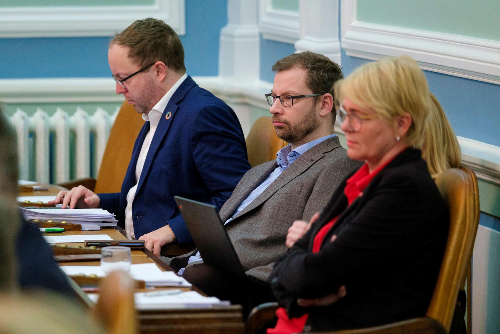 Smári McCarthy, Björn Leví Gunnarsson og Oddný G. Harðardóttir voru …