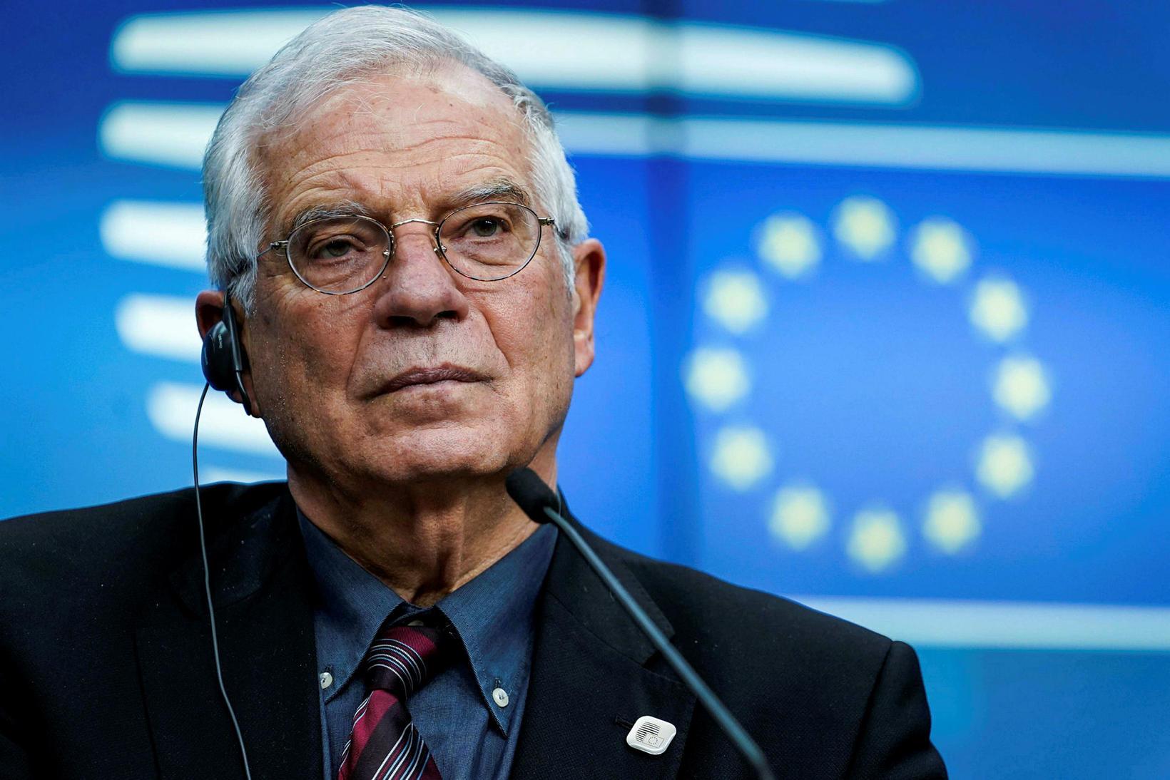 Josep Borrell á blaðamannafundi fyrr í mánuðinum.