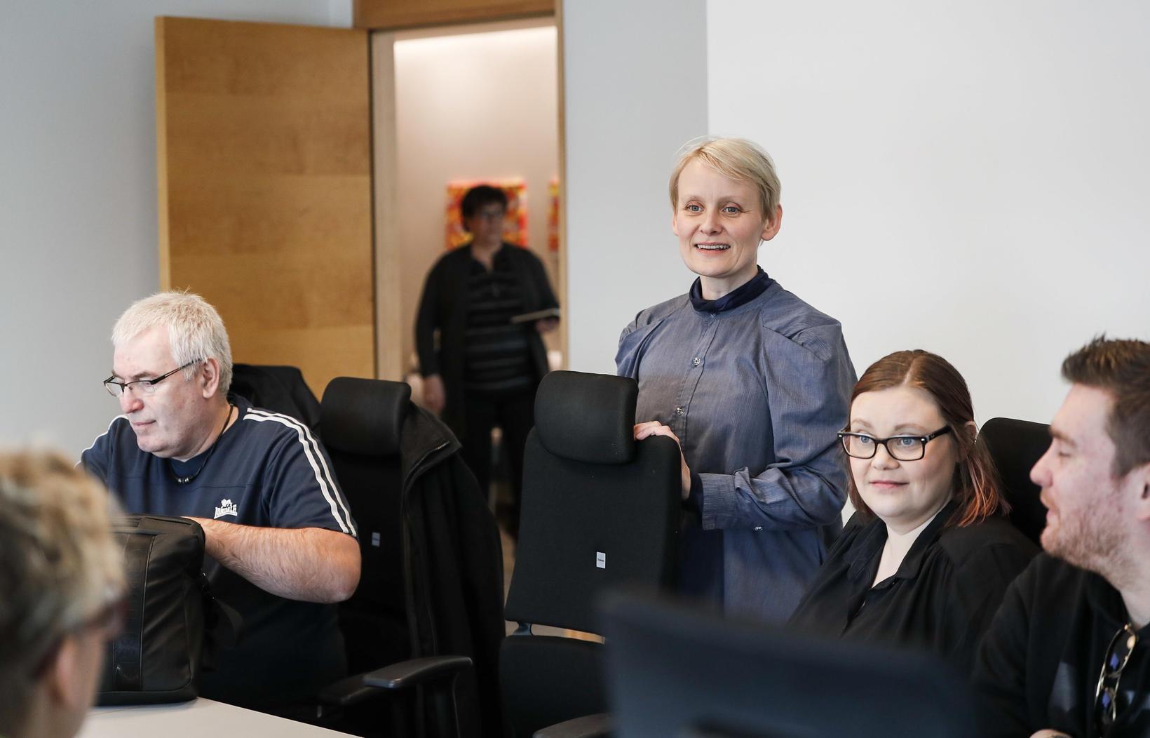 Sólveig Anna Jónsdóttir, formaður Eflingar, á samningafundi í gær, sem …