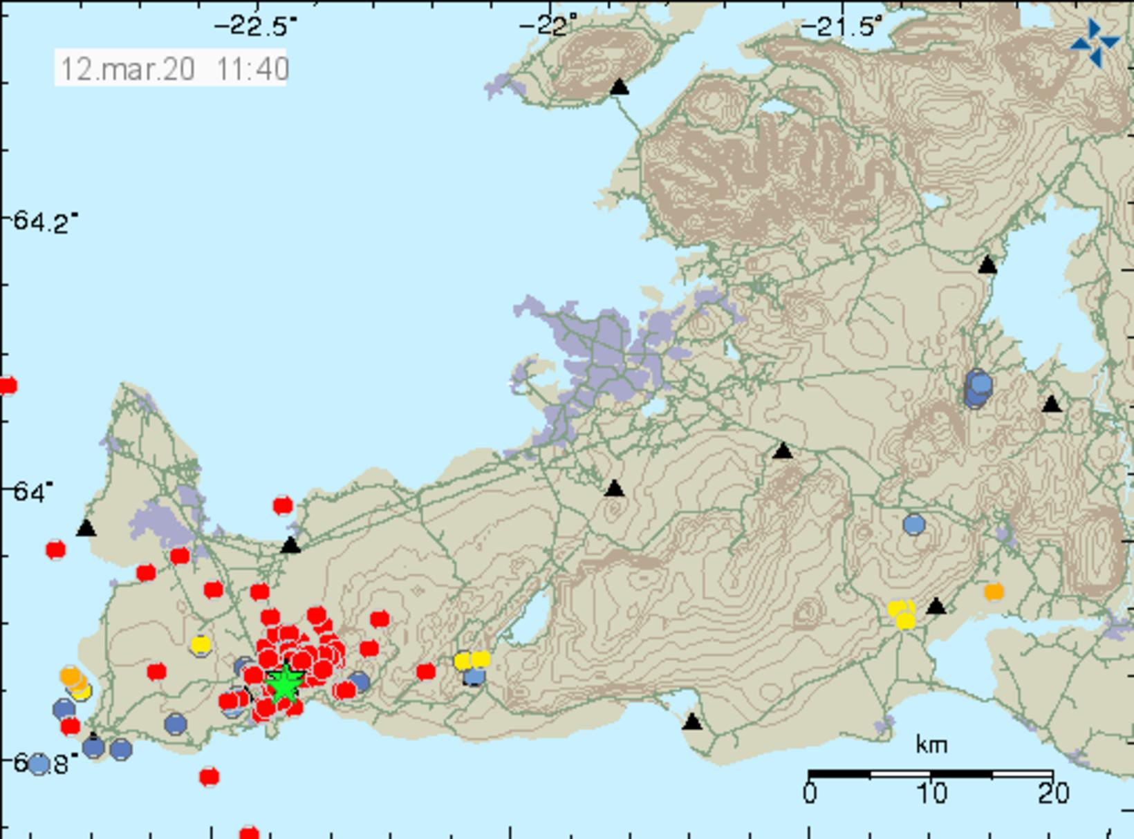 The location of the earthquakes.