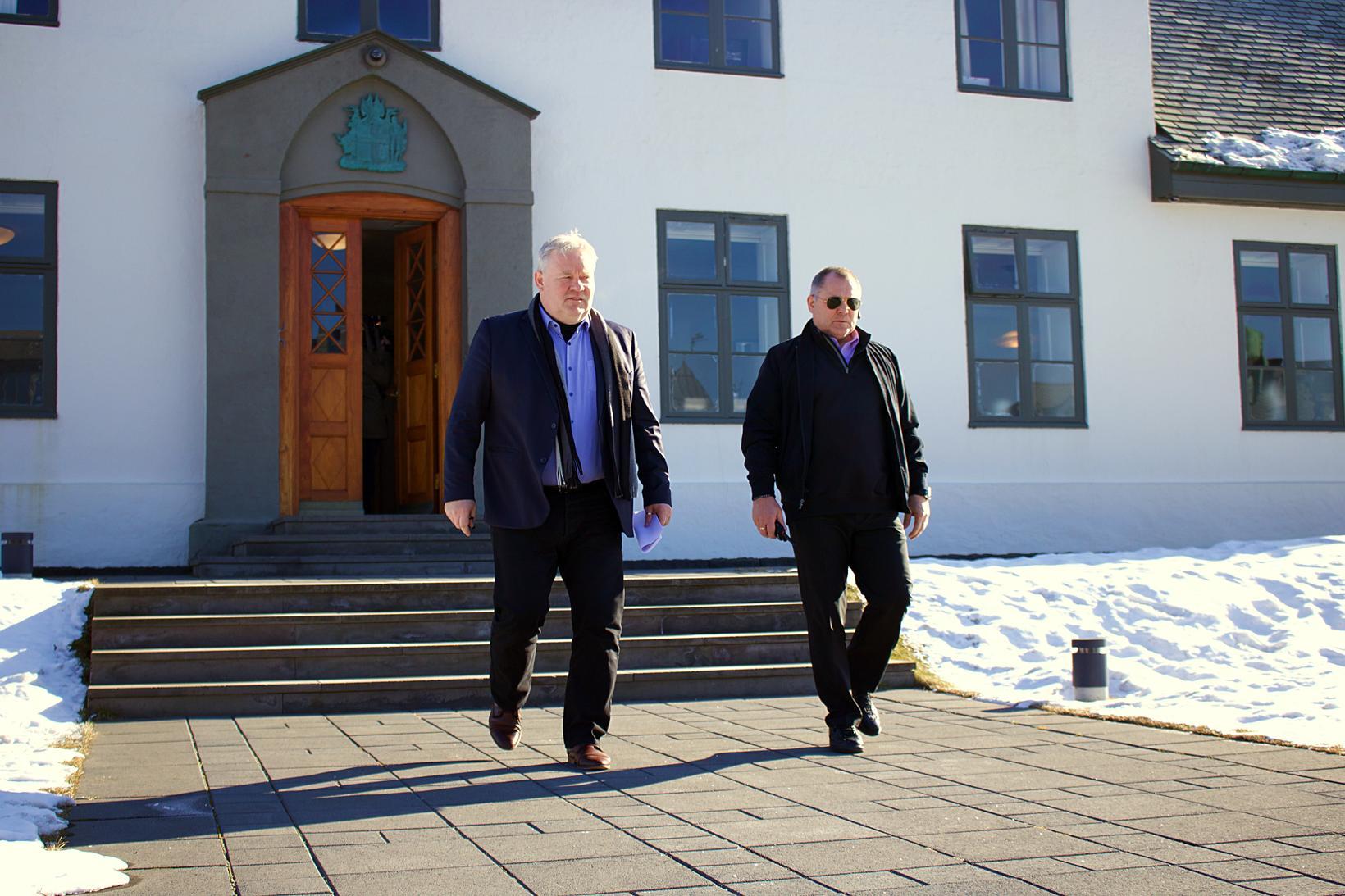 Sigurður Ingi Jóhansson að loknum ríkisstjórnarfundi í dag.