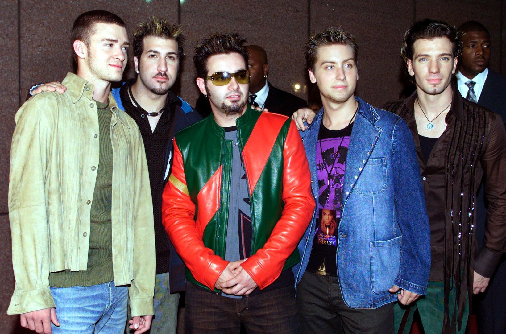 Strákasveitin NSync árið 2001. Frá vinstri; Justin Timberlake, Joey Fatone, …