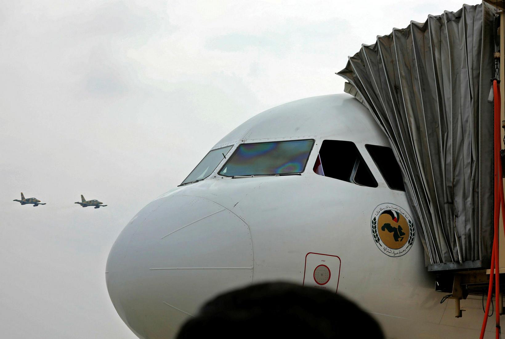 Airbus A320-232-vél Syrian Air var fyrsta farþegaflugvélin sem lenti á …
