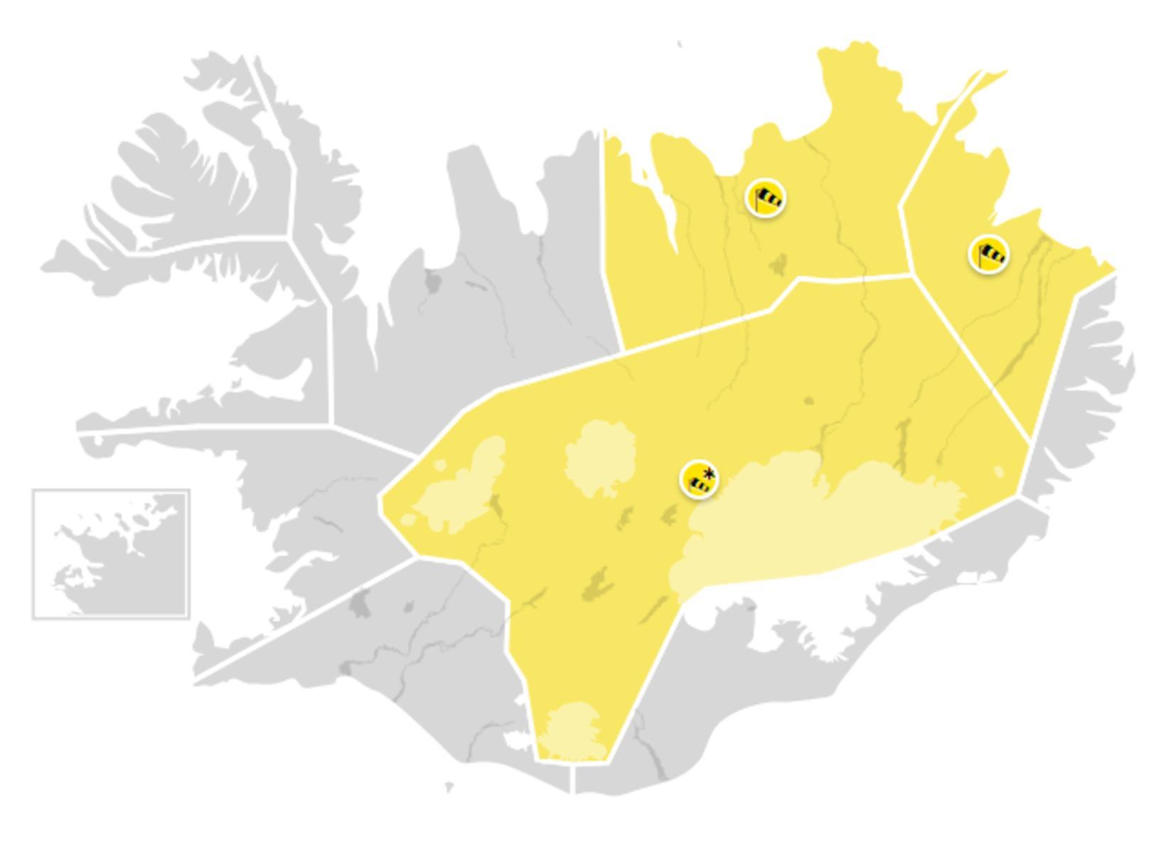 Gul viðvörun er í gildi á Norðurlandi eystra, Austurlandi að …