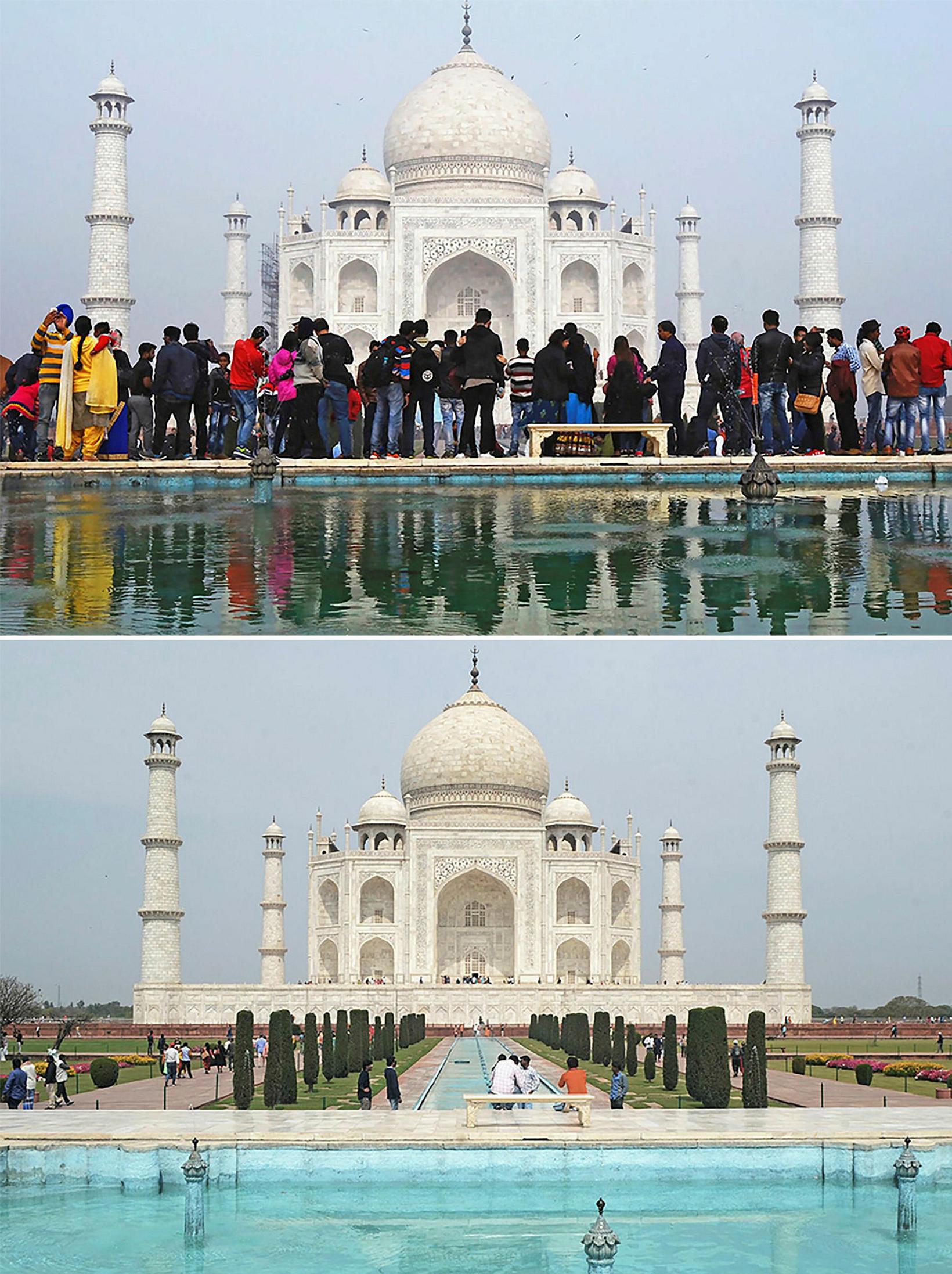 Taj Mahal þann 3. janúar og þann 16. mars.