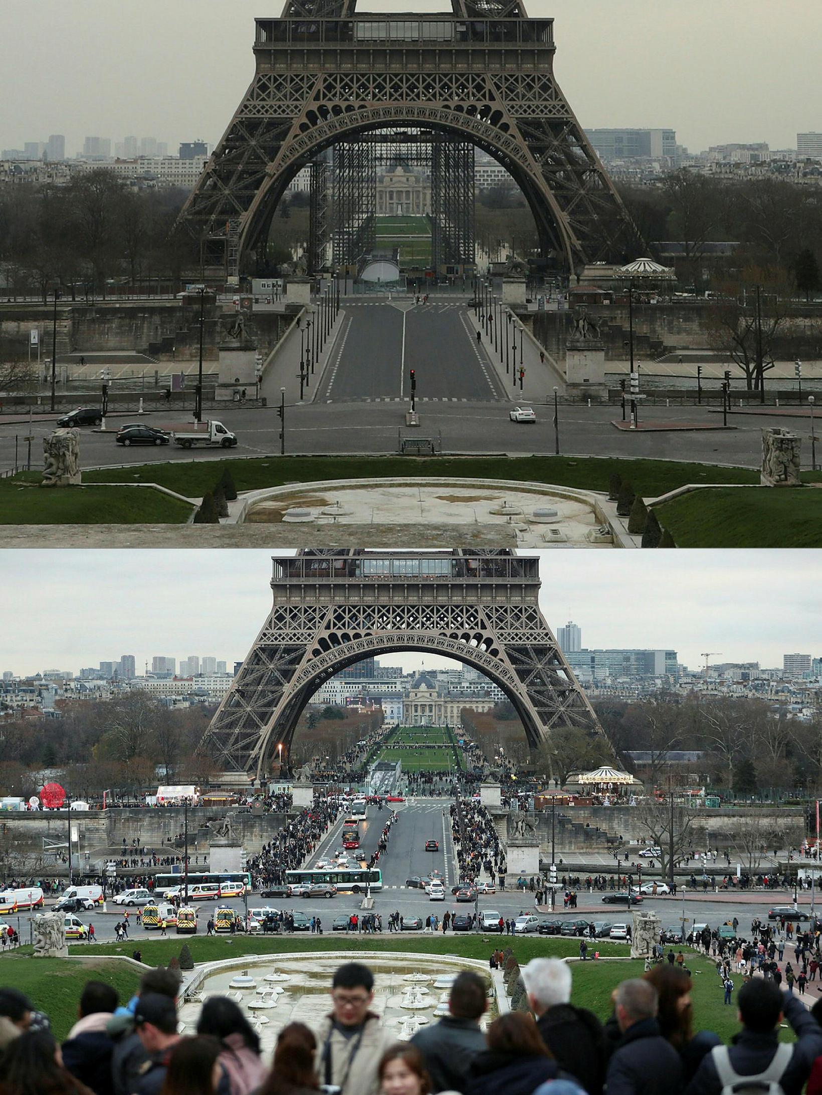 Við Eiffel-turninn þann 17. mars 2020 og 31. desember 2018.