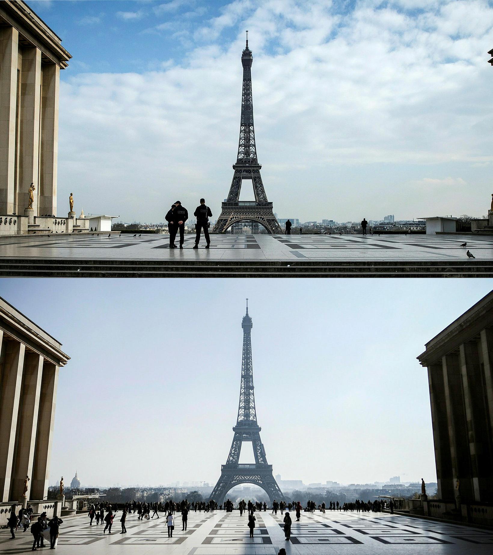 Horft að Eiffel-turninum í París þann 17. mars 2020 og …