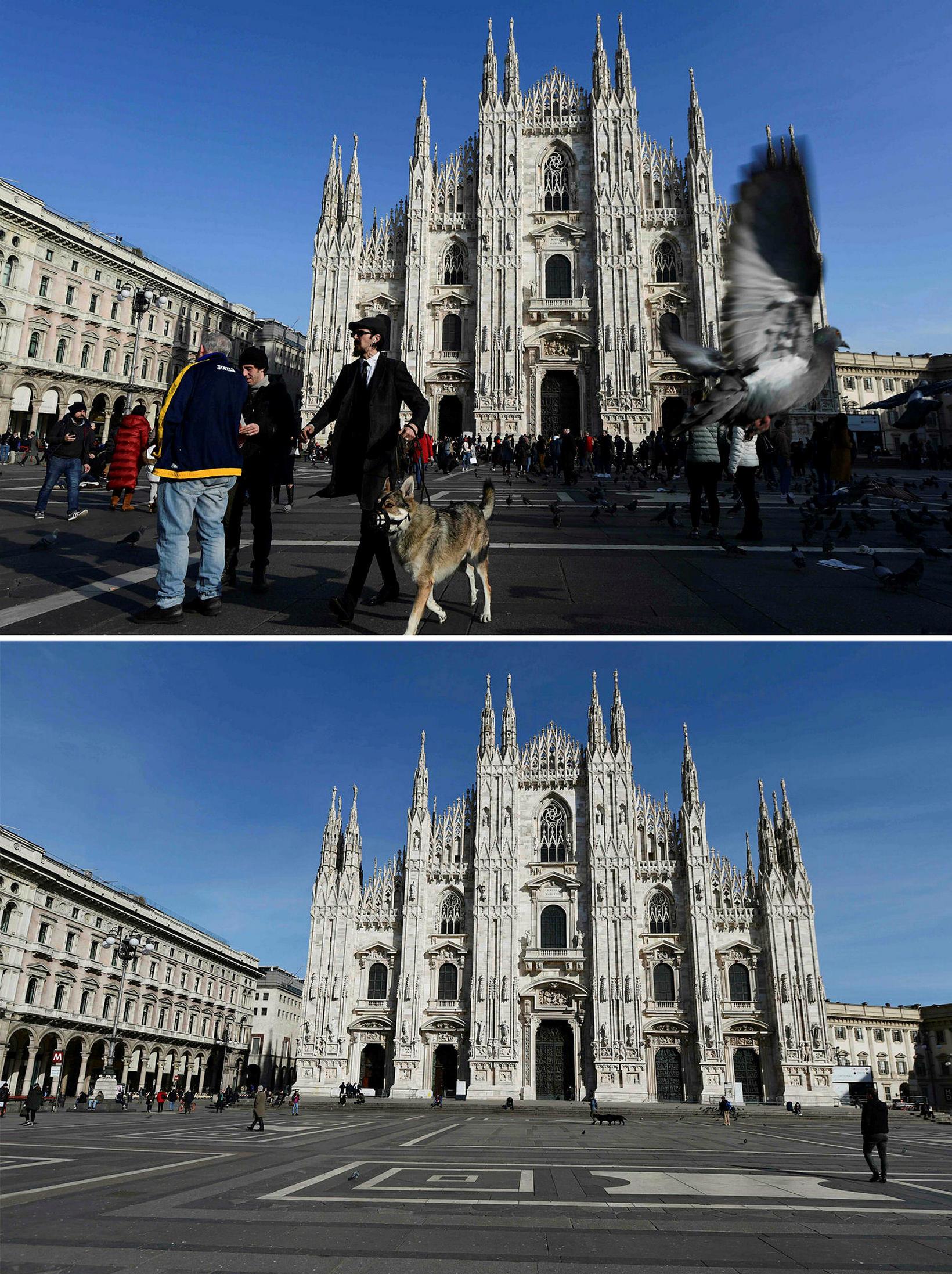 Piazza del Duomo í Mílanó þann 3. febrúar 2020 og …