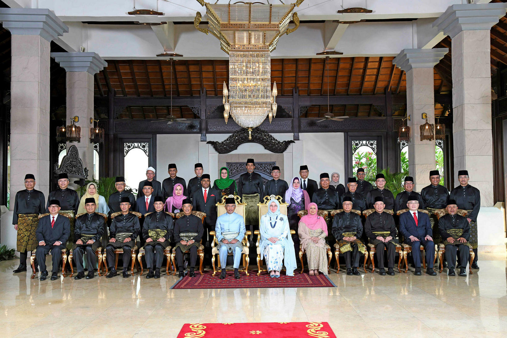 Konungur Malasíu Abdullah Sultan Ahmad Shah og drottningin Tunku Azizah …
