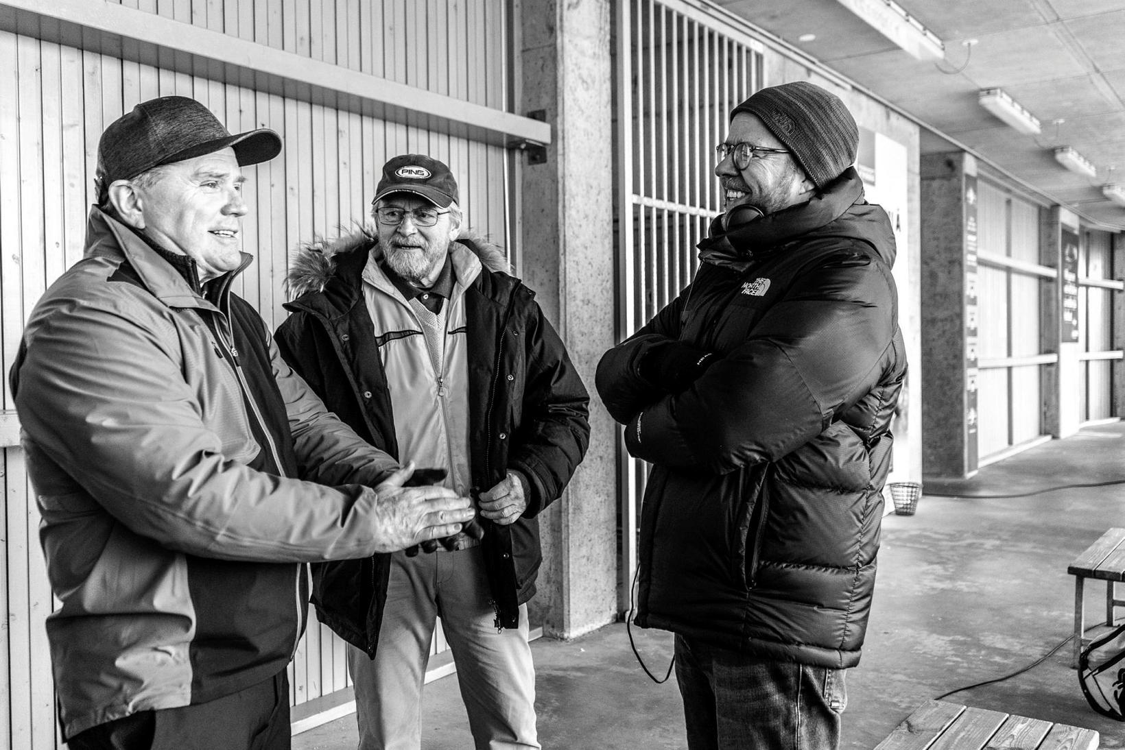 Leikararnir Einar Gunn og Laddi með leikstjóranum Kristófer Dignus.