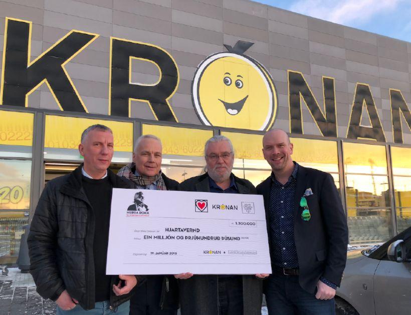 Ólafur Júlíusson frá Krónunni, Karl Andersen og Vilmundur Guðnason frá ...