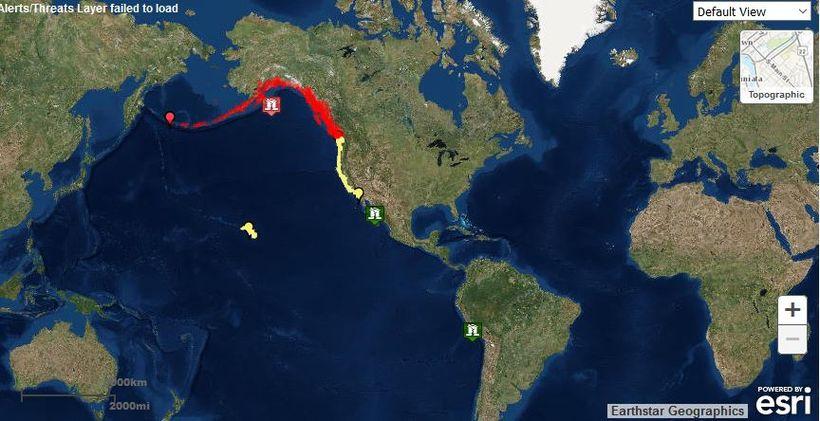 Flóðbylgjuviðvörun var gefin út í Alaska í kjölfar skjálftans, sem ...